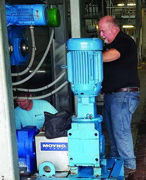 Regarding human input, here a technician examines a pumps system in a wastewater treatment plant.