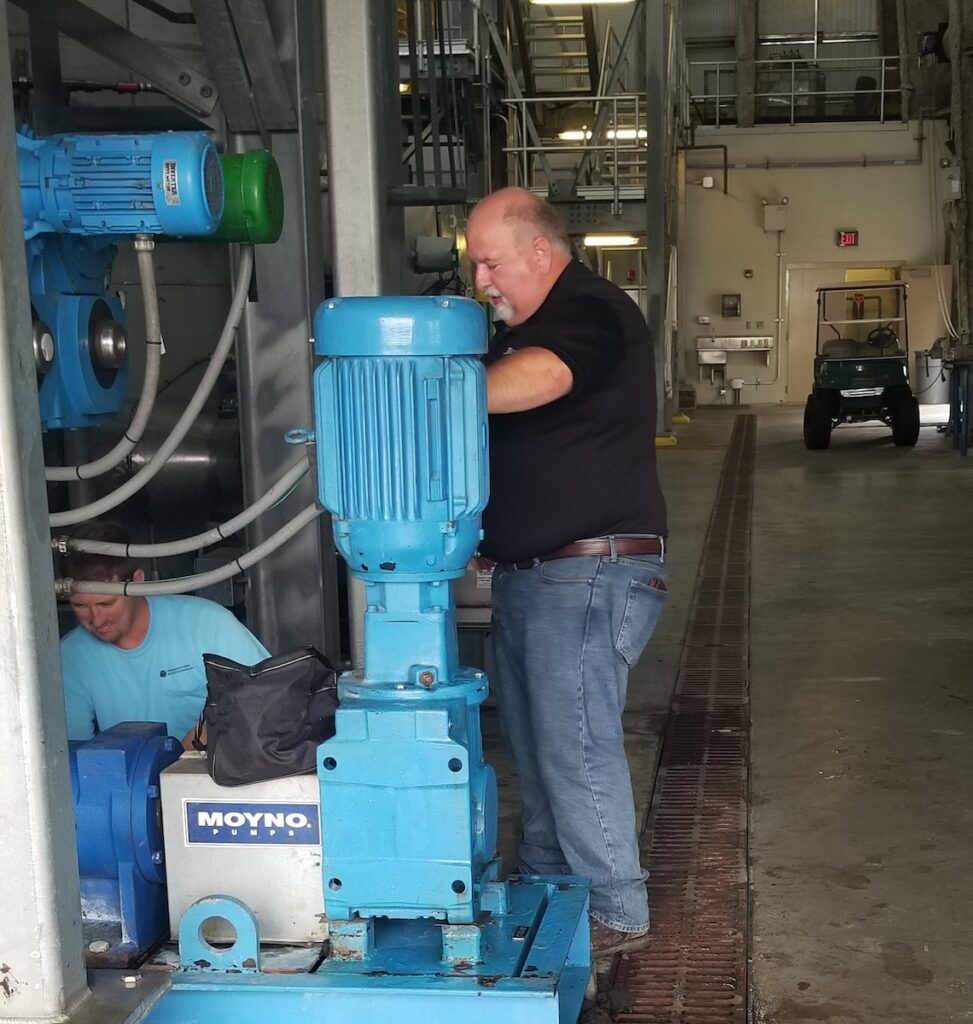 Team works in a wastewater treatment facility